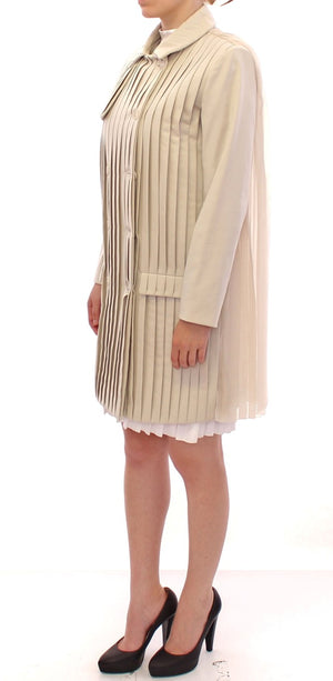 Beige Cotton Pleated Silk Coat