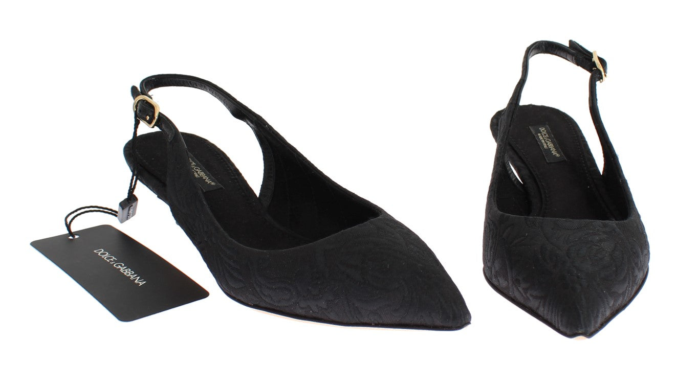 Black Brocade Kitten Heel Slingbacks Shoes