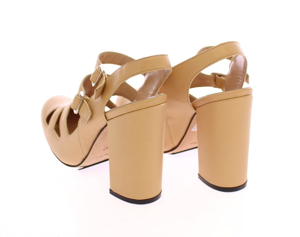 Beige Leather Heels Pumps Shoes