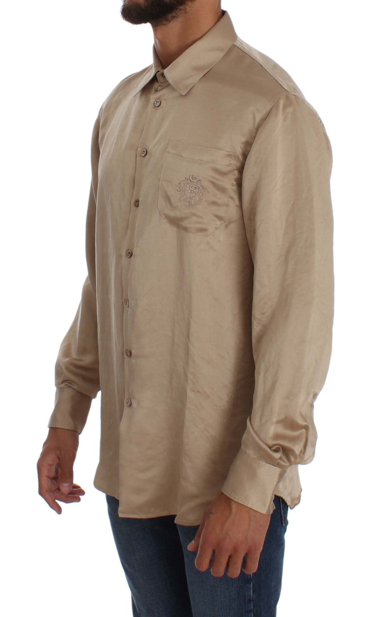 Beige Shiny Silk Casual Shirt