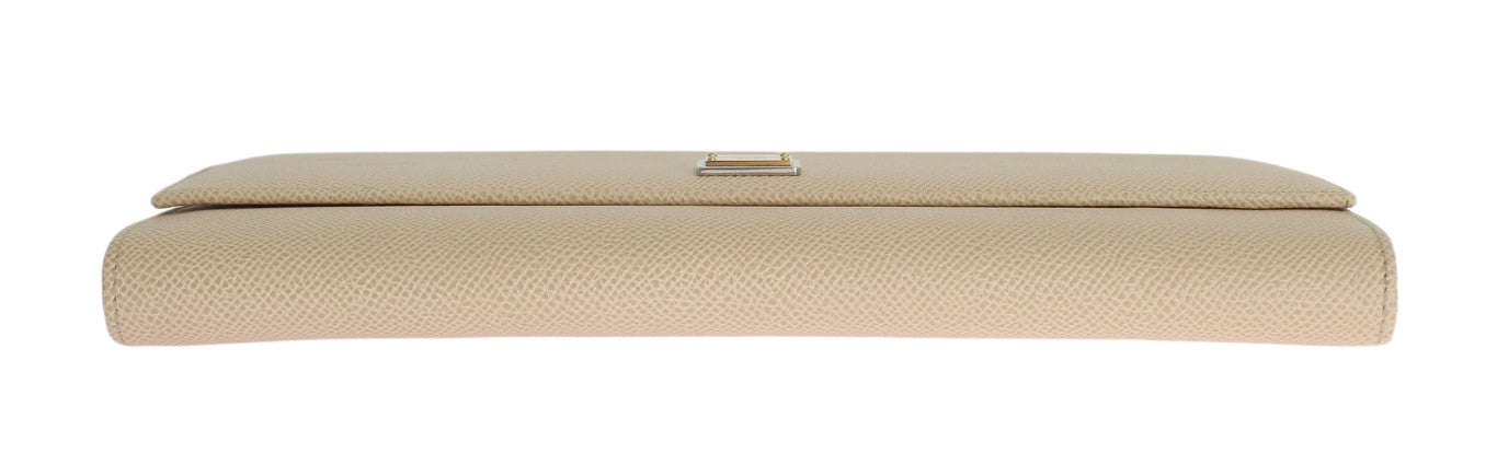 Beige Leather Dauphine Continental Wallet