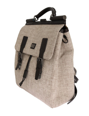 Beige Linen Cotton Brown Leather Backpack