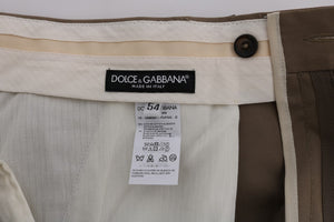 Beige Cotton Stretch Chinos Pants