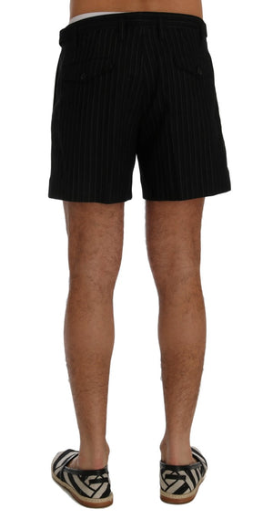 Black Cotton Above Knees Casual Shorts