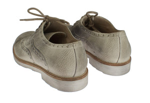 Beige Leather Wingtip Shoes