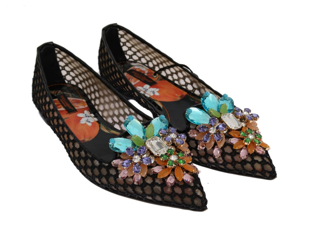 Black Ballet Flats Crystal Loafers