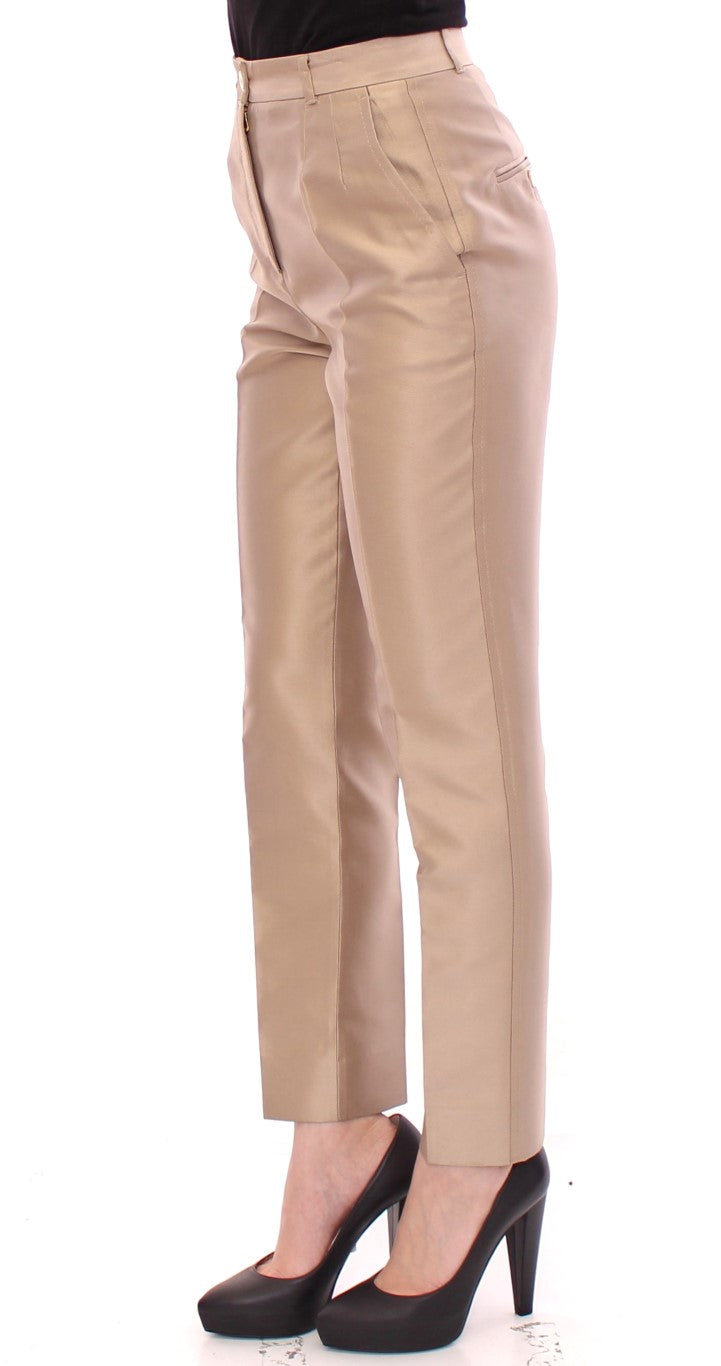Beige Silk Logo Chinos Dress Pants