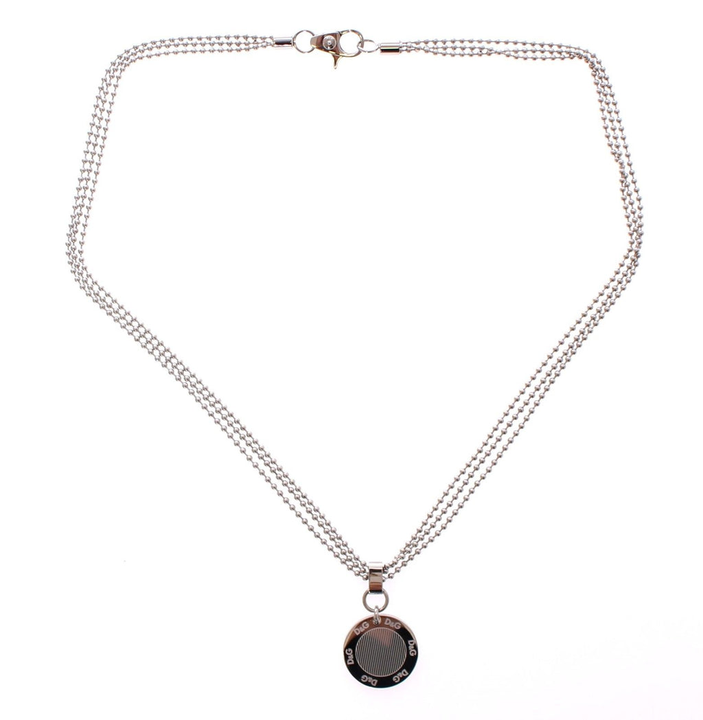 Silver Round Dogtag Necklace