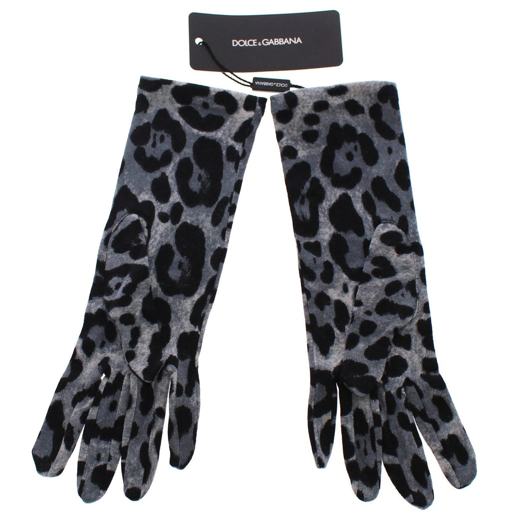 Blue Classic Leopard Print Long Wool Gloves