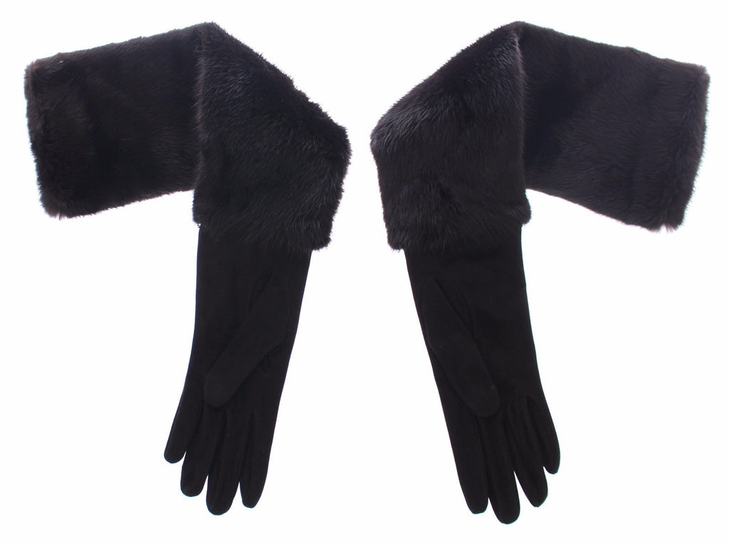 Black Mink Fur Lambskin Suede Leather Gloves