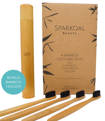 Sparkoal Beauty Bamboo Toothbrush Charcoal Toothbrush Image 1