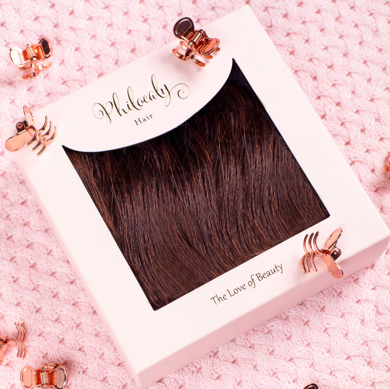 Philocaly Hair Extensions Remy Russian Tape Clip Hair Extensions
