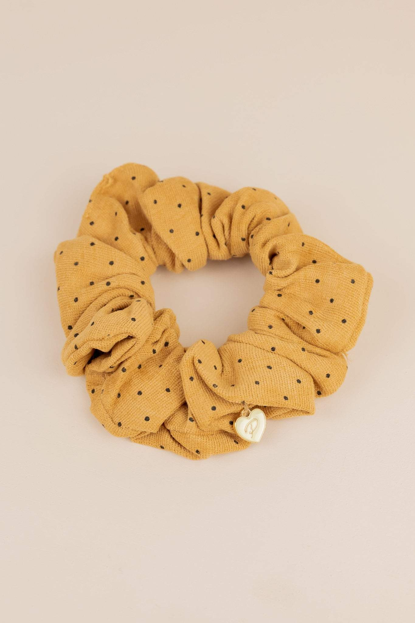 Philocaly Hair Extensions Cotton Scrunchie (Caramel Polka Dot)