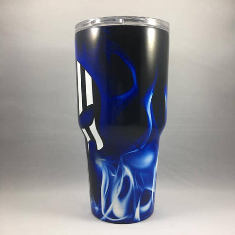 Skull Blue Flame Tumbler, Personalized Tumbler, Custom 30oz Be Seen Designs Tumbler Fully Wrap