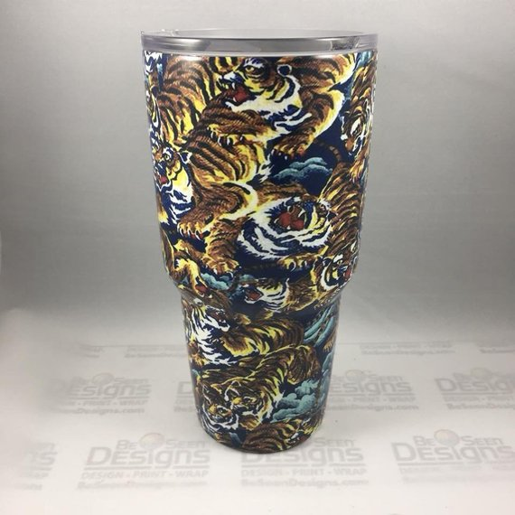 Tiger Tumbler, Personalized Tumbler, Custom 30oz Be Seen Designs Tumbler Fully Wrap