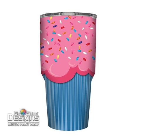 Cupcake with Sprinkles Tumbler, Personalized Tumbler, Custom 30oz Be Seen Designs Tumbler Fully Wrap