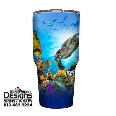 Sea Turtle Tropical Tumbler, Personalized Tumbler, Custom 30oz Be Seen Designs Tumbler Fully Wrap