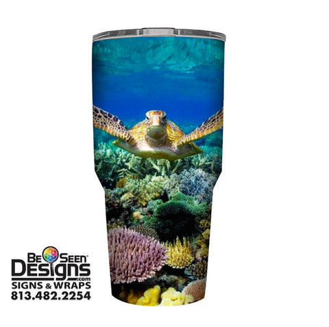Sea Turtle Tumbler, Personalized Tumbler, Custom 30oz Be Seen Designs Tumbler Fully Wrap