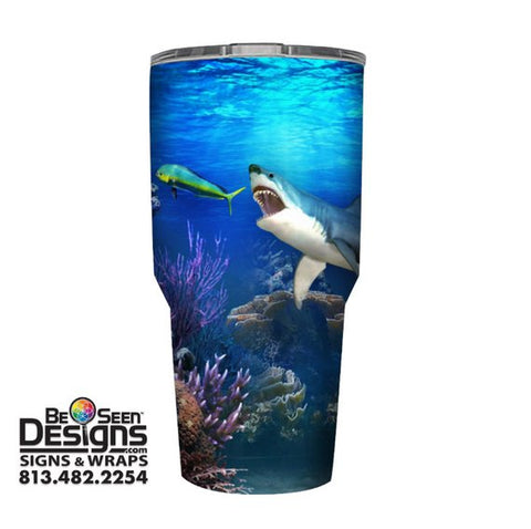 Shark and Dolphin Fish Tumbler, Personalized Tumbler, Custom 30oz Be Seen Designs Tumbler Fully Wrap
