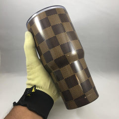 Louis Vuitton Square Pattern Tumbler, Personalized Tumbler, Custom 30oz Be Seen Designs Tumbler Fully Wrap