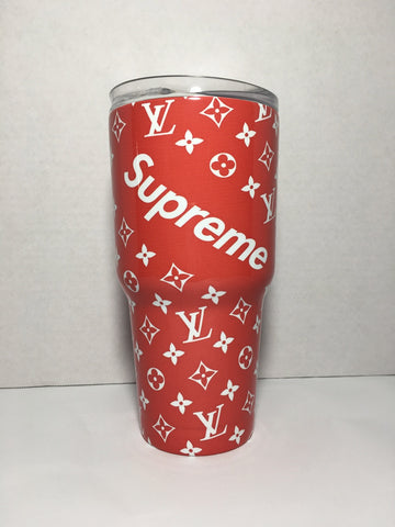Louis Vuitton Supreme Tumbler, Personalized Tumbler, Custom 30oz Tumbler Fully Wrap