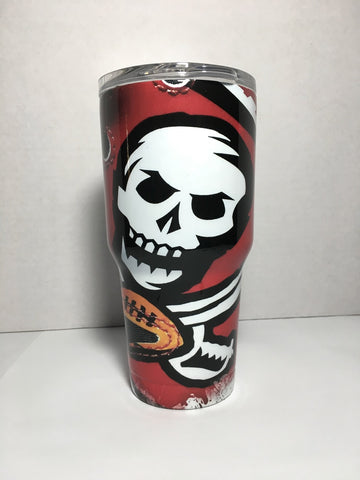 Tampa Bay Buccaneers Skull Tumbler, Personalized Tumbler, Custom 30oz Be Seen Designs Tumbler Fully Wrap