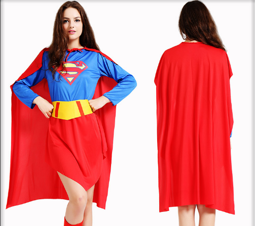 FEMALE S SUPERMAN DRESS WITH CLOAK AND SHOE COVER