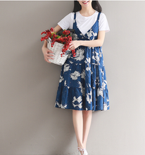 JAPANESE RETRO ART LINEN PRINTED HARNESS DRESS LOOSE LOOSE DRESS