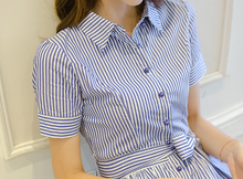 NEW FEMALE TIDE STUDENT STRIPED SHIRT DRESS