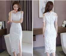 FASHION SHORT SLEEVES WHITE HOLLOW LACE SKIRT