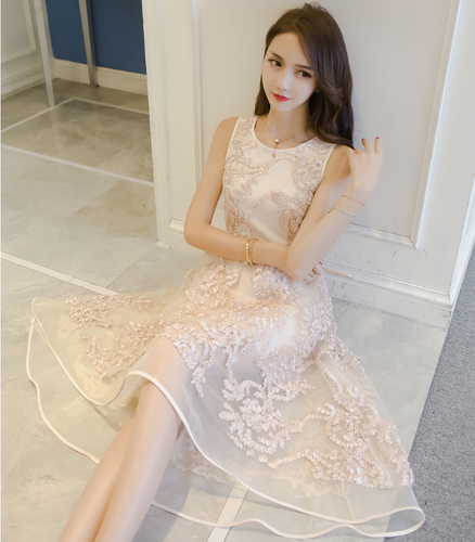 2017 SUMMER NEW SLEEVELESS LACE SKIRT DRESS