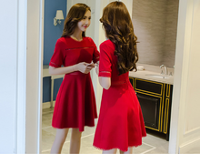 FASHIONABLE LADIES SHORT SLEEVES RED KNIT DRESS