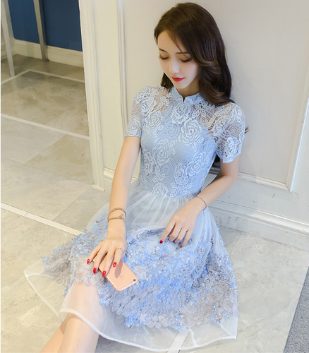 CHEONGSAM SWEET YARN LACE DRESS