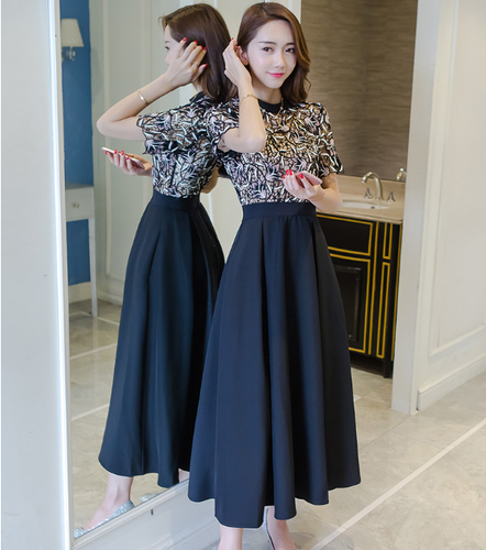 EMBROIDERED KOREAN FASHION TEMPERAMENT LACE SKIRT