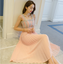 TEMPERAMENT LACE HARNESS CHIFFON DRESS WITH LONG SKIRT