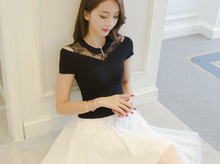 WAS THIN SUMMER A WORD SKIRT HOLLOW MESH YARN EMBROIDERY DRESS