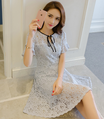 ART NOVELS FRESH BLUE HIGH WAIST LACE DRESS