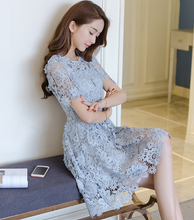 WAS THIN COVER BELLY HOLLOW LACE DRESS