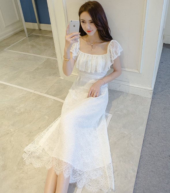 LADIES SHORT SLEEVE HOLLOW LACE DRESS