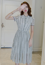 RETRO STRIPED FLORAL CHIFFON DRESS