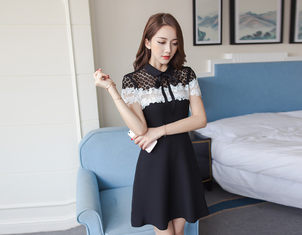 LADIES SHORT-SLEEVED HIT COLOR HOLLOW LACE BLACK SKIRT
