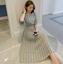 KOREAN CHIFFON FASHION STRIPED PLEATED SKIRT