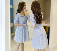 SHORT-SLEEVED STRIPED V-COLLAR EMBROIDERY DRESS
