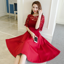 KOREAN FASHION SLEEVED HOLLOW LACE DRESS