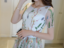 STITCHING EMBROIDERY NET YARN LONG SKIRT