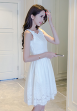 SLING EMBROIDERY HOLLOW LACE DRESS