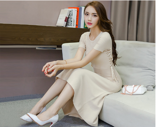 KOREAN FASHION KNIT DRESS WILD DRESS