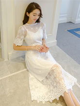 SHORT-SLEEVED LACE EMBROIDERY DRESS