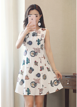 SUMMER NEW KOREAN SLIM PRINTED A WORD VEST SKIRT