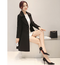 WAIST LONG SLEEVES SOLID COLOR LADY COAT
